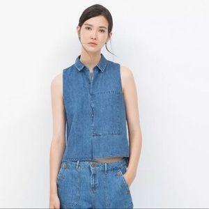 ZARA   Collared sleeveless denim blouse